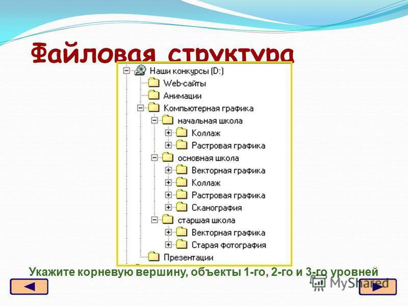 Файловая структура Укажите корневую вершину, объекты 1-го, 2-го и 3-го уровней