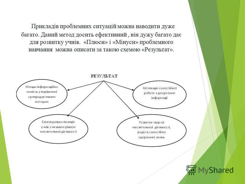 Прикладів проблемних ситуацій можна наводити дуже багато. Даний метод досить ефективний, він дужу багато дає для розвитку учнів. «Плюси» і «Мінуси» проблемного навчання можна описати за такою схемою «Результат».