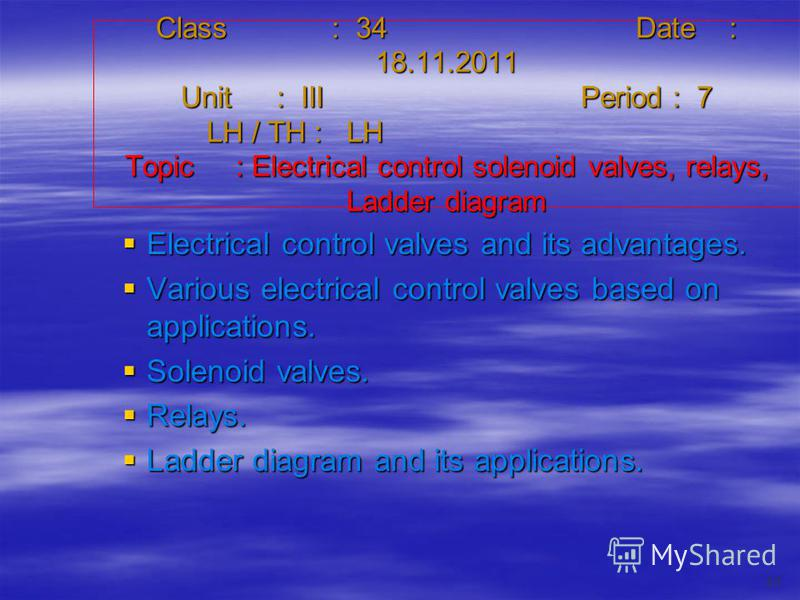 Class : 34Date : 18.11.2011 Unit : IIIPeriod : 7 LH / TH : LH Topic : Electrical control solenoid valves, relays, Ladder diagram Electrical control valves and its advantages. Electrical control valves and its advantages. Various electrical control va