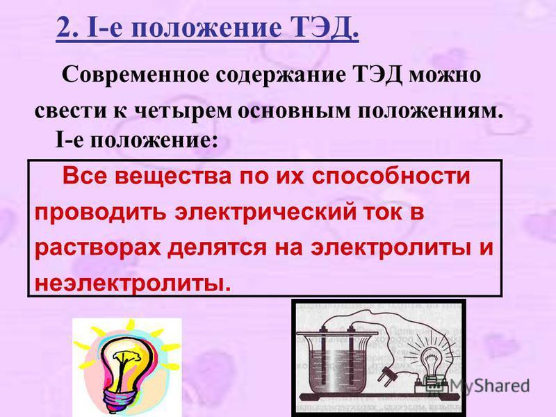 2. I-е положение ТЭД. Современное содержание ТЭД можно свести к четырем основным положениям. I-е положение: Все вещества по их способности проводить электрический ток в растворах делятся на электролиты и неэлектролиты.