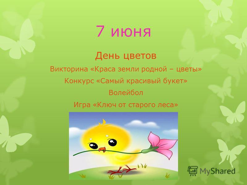 7 июня День цветов Викторина «Краса земли родной – цветы» Конкурс «Самый красивый букет» Волейбол Игра «Ключ от старого леса»