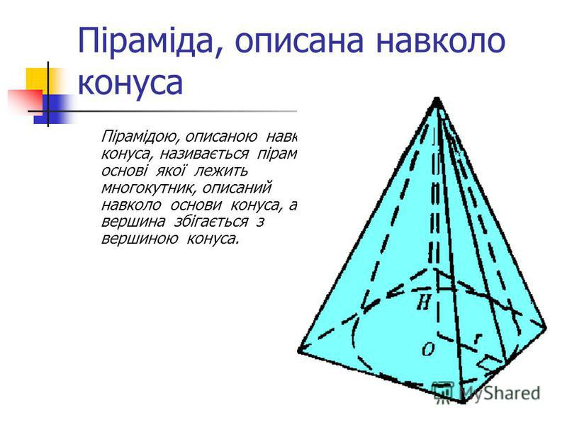 Піраміда, описана навколо конуса Пірамідою, описаною навколо конуса, називається піраміда, в основі якої лежить многокутник, описаний навколо основи конуса, а вершина збігається з вершиною конуса.