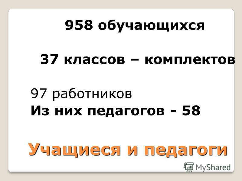 Учащиеся и педагоги 958 обучающихся 37 классов – комплектов 97 работников Из них педагогов - 58