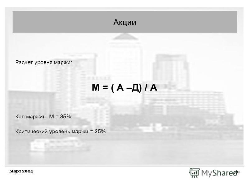 30 Март 2004 Акции Расчет уровня маржи: М = ( А –Д) / А Кол маржин М = 35% Критический уровень маржи = 25%