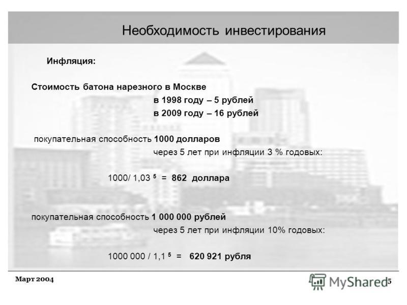 5 Март 2004 Необходимость инвестирования Инфляция: Стоимость батона нарезного в Москве в 1998 году – 5 рублей в 2009 году – 16 рублей покупательная способность 1000 долларов через 5 лет при инфляции 3 % годовых: 1000/ 1,03 5 = 862 доллара покупательн