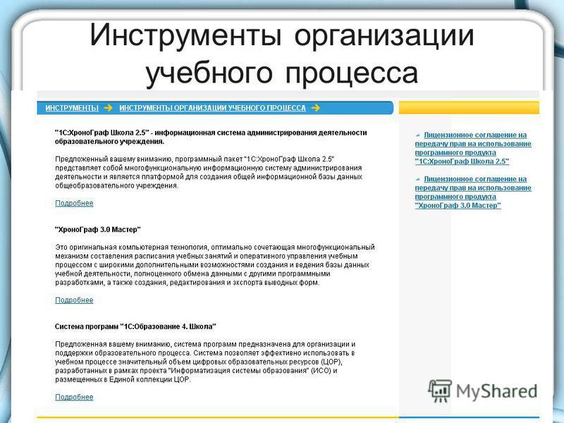 Инструменты организации учебного процесса