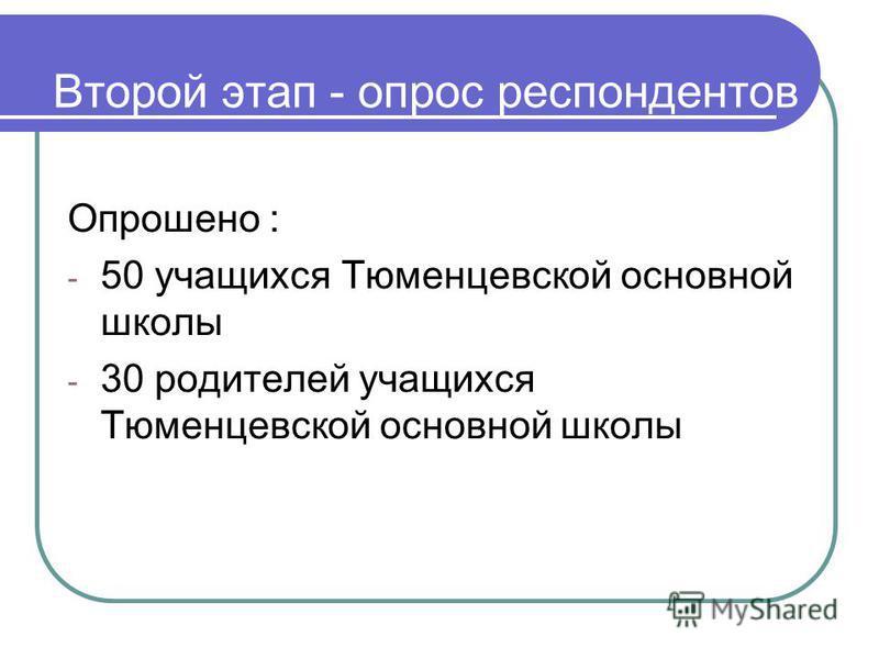 Второй этап - опрос респондентов Опрошено : - 50 учащихся Тюменцевской основной школы - 30 родителей учащихся Тюменцевской основной школы