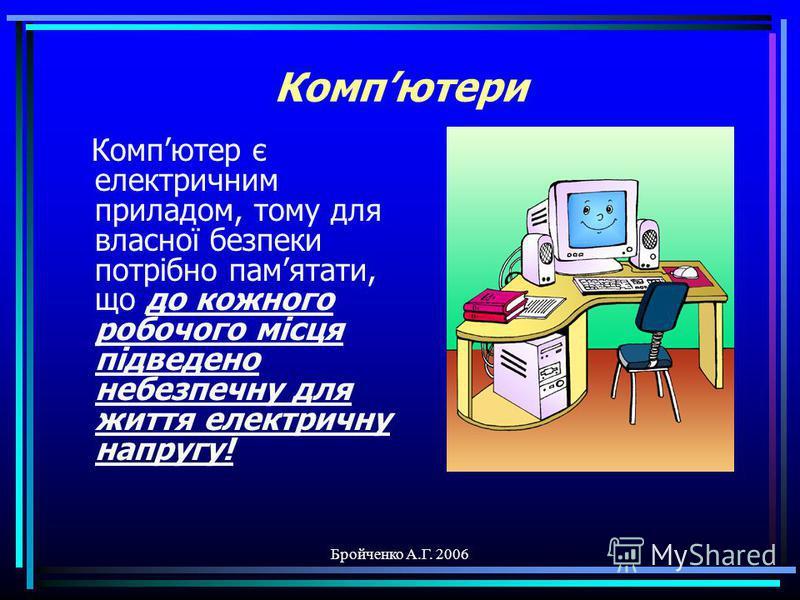 Бройченко А.Г. 2006 Техніка безпеки в кабінеті інформатики Техніка безпеки в кабінеті інформатики Інформатика-10 Тема-1