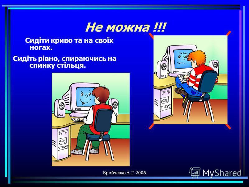Бройченко А.Г. 2006 Не можна !!! Торкатися екрану ПК руками. Для цього є указки.