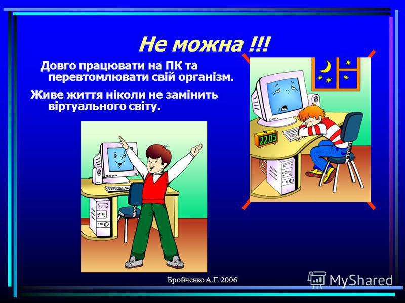 Бройченко А.Г. 2006 Не можна !!! Приймати їжу та пити при роботі на ПК. Зробіть перерву та поїжте в їдальні.