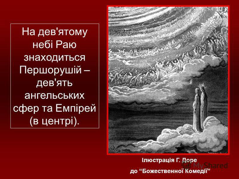 Ілюстрація Г. Доре до Божественної Комедії На дев'ятому небі Раю знаходиться Першорушій – дев'ять ангельських сфер та Емпірей (в центрі).