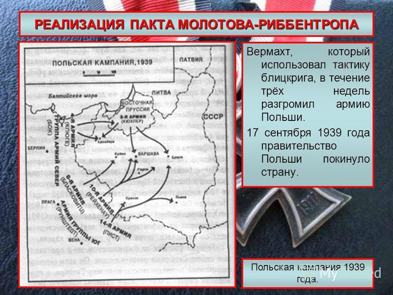РЕАЛИЗАЦИЯ ПАКТА МОЛОТОВА-РИББЕНТРОПА Вермахт, который использовал тактику блицкрига, в течение трёх недель разгромил армию Польши. 17 сентября 1939 года правительство Польши покинуло страну. Польская кампания 1939 года.