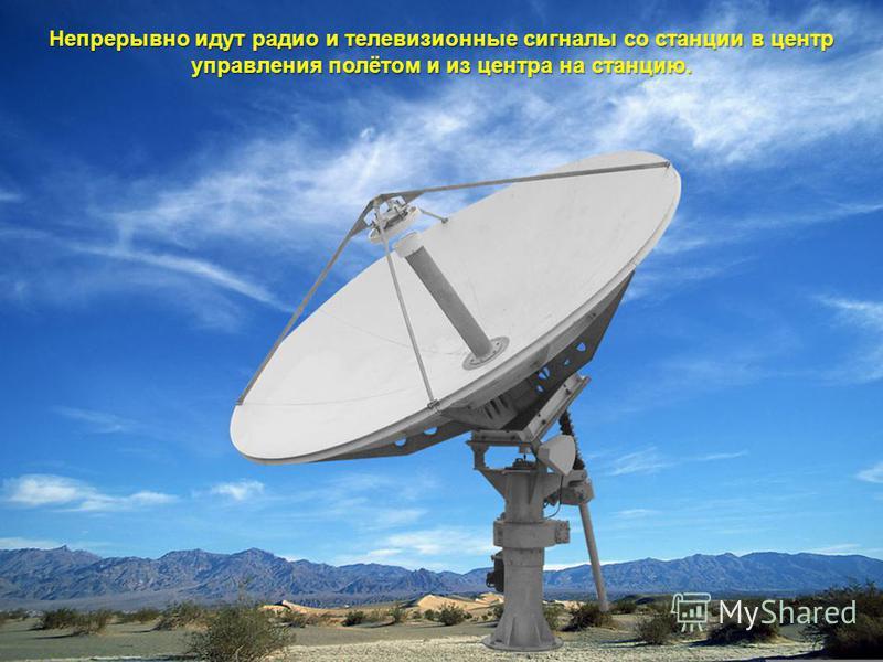 Непрерывно идут радио и телевизионные сигналы со станции в центр управления полётом и из центра на станцию.