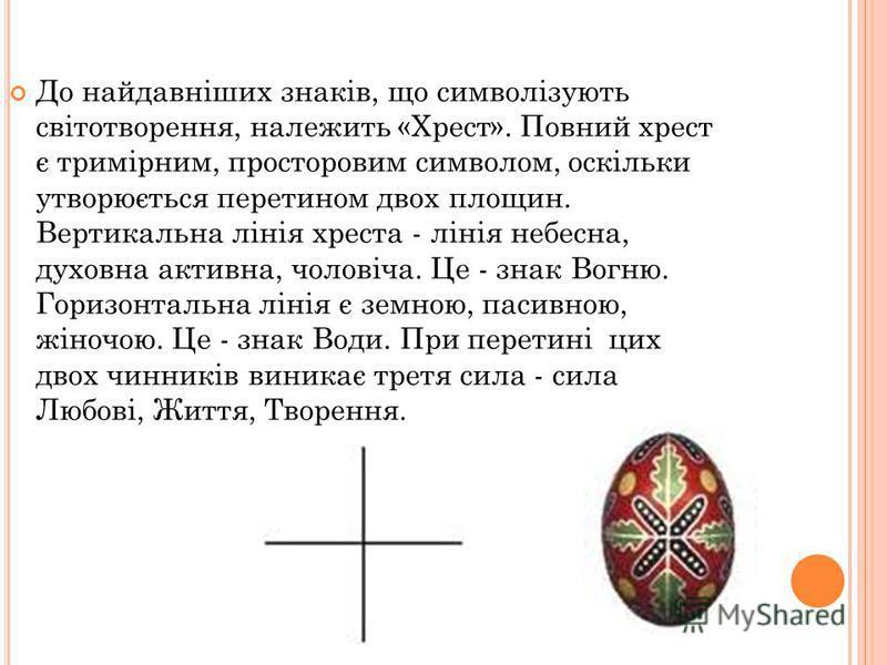 До найдавніших знаків, що символізують світотворення, належить «Хрест». Повний хрест є тримірним, просторовим символом, оскільки утворюється перетином двох площин. Вертикальна лінія хреста - лінія небесна, духовна активна, чоловіча. Це - знак Вогню.