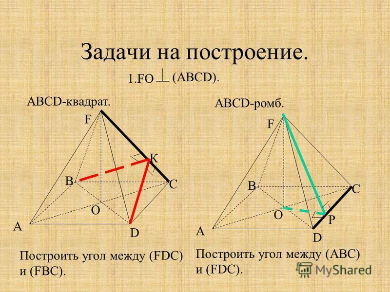 Задачи на построение. 1. FO АВСD-квадрат. ABCD-ромб. (АВСD). А В С D F O Построить угол между (FDC) и (FBC). А В С D F O Построить угол между (АВС) и (FDC). К Р