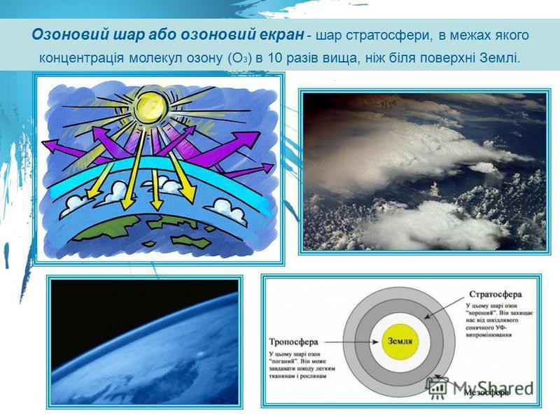 Озоновий шар або озоновий екран - шар стратосфери, в межах якого концентрація молекул озону (О 3 ) в 10 разів вища, ніж біля поверхні Землі.