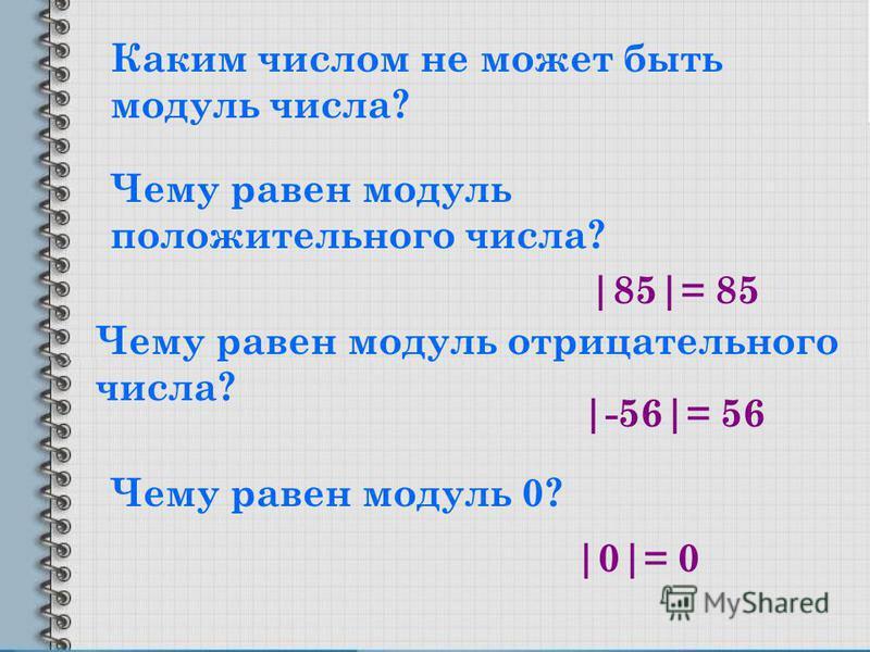 Каким числом не может быть модуль числа? Чему равен модуль положительного числа? Чему равен модуль отрицательного числа? Чему равен модуль 0? |85|= 85 |-56|= 56 |0|= 0