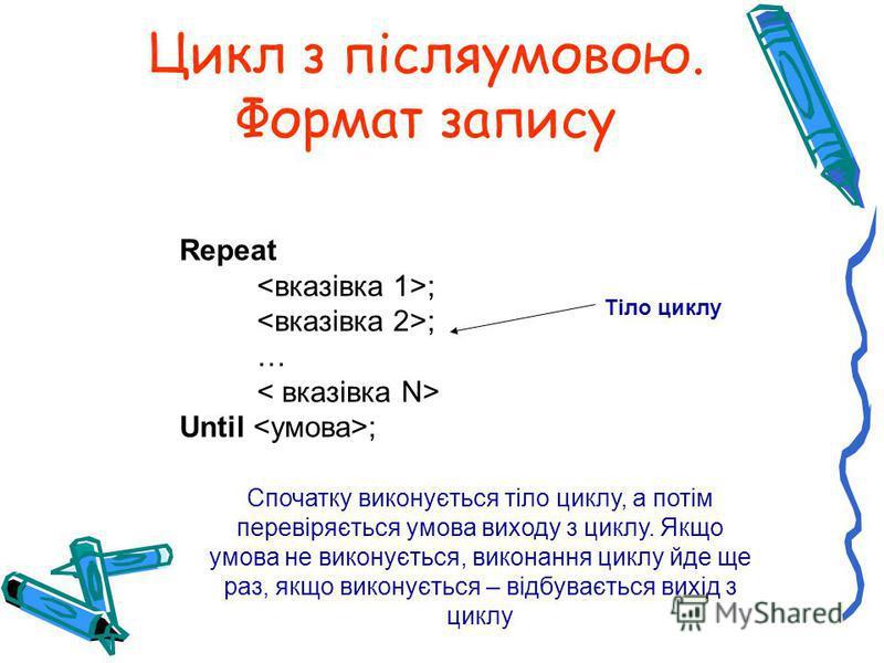 Цикл з післяумовою. Формат запису Repeat ; … Until ; Спочатку виконується тіло циклу, а потім перевіряється умова виходу з циклу. Якщо умова не виконується, виконання циклу йде ще раз, якщо виконується – відбувається вихід з циклу Тіло циклу