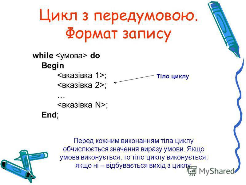 Цикл з передумовою. Формат запису while do Begin ; … ; End; Перед кожним виконанням тіла циклу обчислюється значення виразу умови. Якщо умова виконується, то тіло циклу виконується; якщо ні – відбувається вихід з циклу. Тіло циклу
