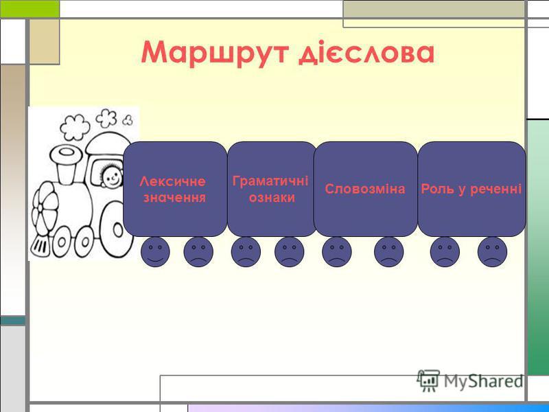 Маршрут дієслова Лексичне значення Граматичні ознаки СловозмінаРоль у реченні