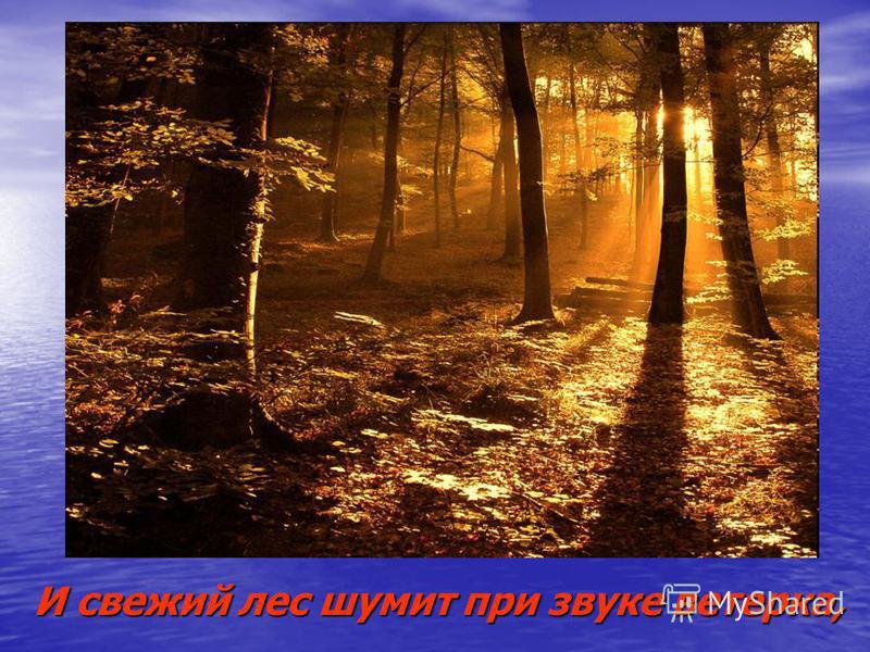 И свежий лес шумит при звуке ветерка,