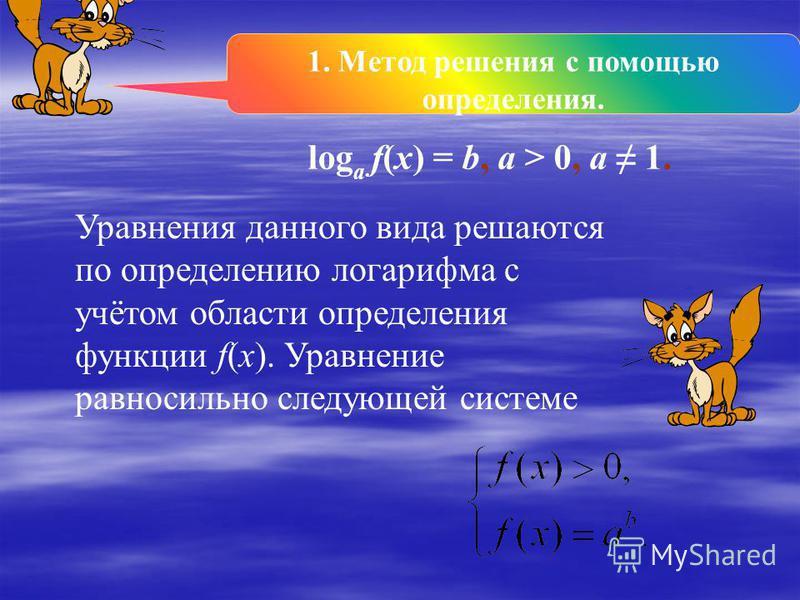 1. Метод решения с помощью определения. 1. Метод решения с помощью определения. 2. Метод потенцирования. 2. Метод потенцирования. 3. Метод введения новой переменной 3. Метод введения новой переменной 4.Функционально- графический метод. 4.Функциональн