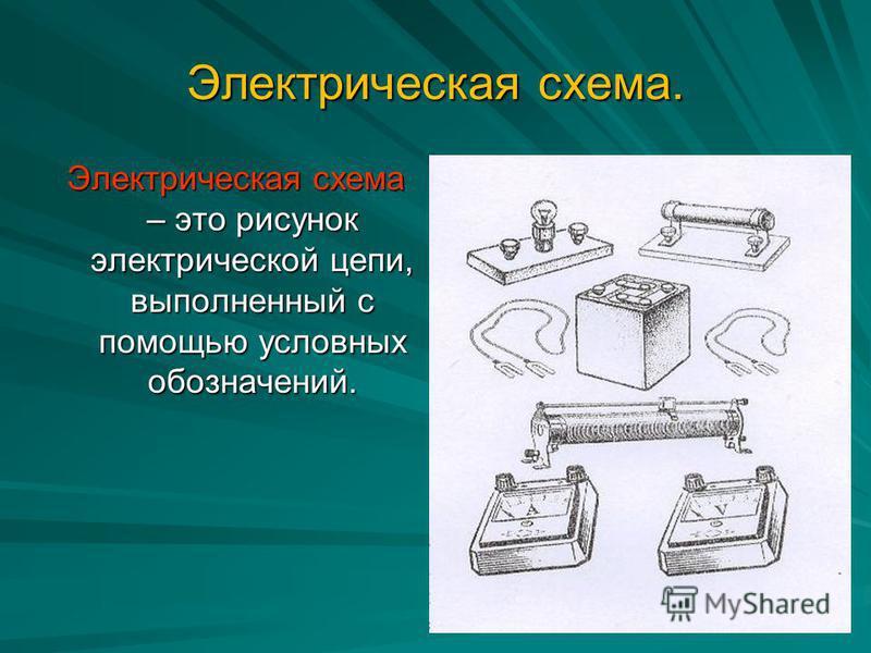 Электрическая схема. Электрическая схема – это рисунок электрической цепи, выполненный с помощью условных обозначений.