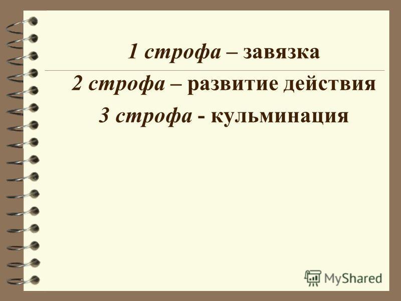 1 строфа – завязка 2 строфа – развитие действия 3 строфа - кульминация