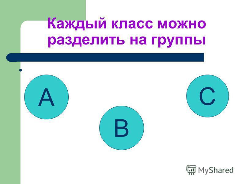 Каждый класс можно разделить на группы A B C