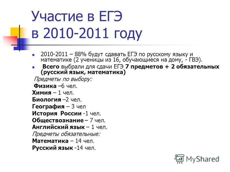 Участие в ЕГЭ в 2010-2011 году 2010-2011 – 88% будут сдавать ЕГЭ по русскому языку и математике (2 ученицы из 16, обучающиеся на дому, - ГВЭ). Всего выбрали для сдачи ЕГЭ 7 предметов + 2 обязательных (русский язык, математика) Предметы по выбору: Физ