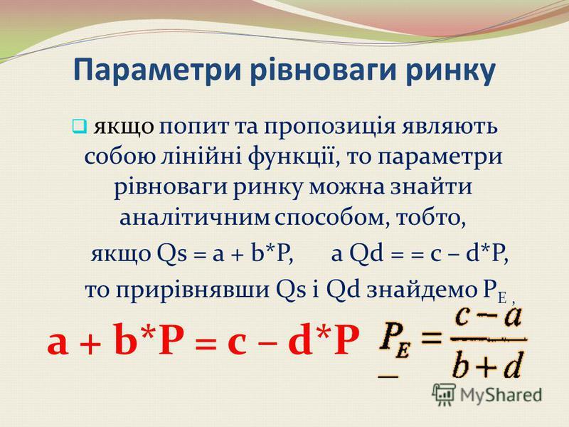 Порушення ринкової рівноваги P Е CB F Q SD Ринкова рівновага Q D = Q S Надлишок Q D < Q S Дефіцит Q D >Q S. K