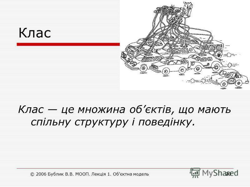 © 2006 Бублик В.В. МООП. Лекція 1. Об'єктна модель20 Клас Клас це множина обєктів, що мають спільну структуру і поведінку.