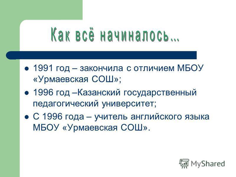 1991 год – закончила с отличием МБОУ «Урмаевская СОШ»; 1996 год –Казанский государственный педагогический университет; C 1996 года – учитель английского языка МБОУ «Урмаевская СОШ».