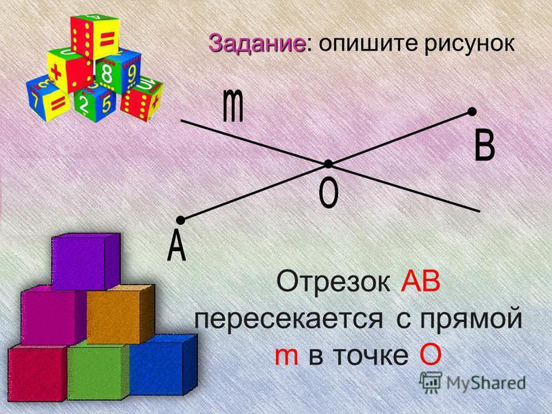 Задание Задание: опишите рисунок Отрезок АВ пересекается с прямой m в точке О