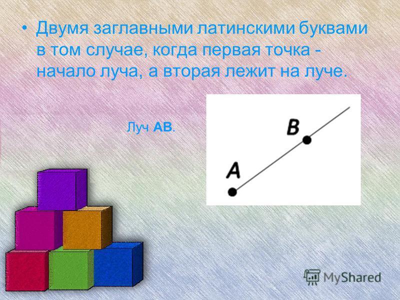 Двумя заглавными латинскими буквами в том случае, когда первая точка - начало луча, а вторая лежит на луче. Луч AB.