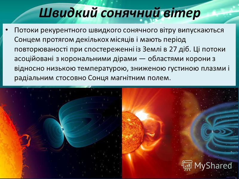 Швидкий сонячний вітер Потоки рекурентного швидкого сонячного вітру випускаються Сонцем протягом декількох місяців і мають період повторюваності при спостереженні із Землі в 27 діб. Ці потоки асоційовані з корональними дірами областями корони з відно