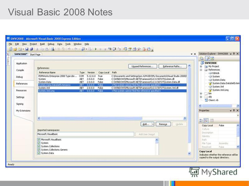 Visual Basic 2008 Notes