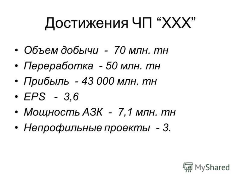 Достижения ЧП XXX Объем добычи - 70 млн. тн Переработка - 50 млн. тн Прибыль - 43 000 млн. тн EPS - 3,6 Мощность АЗК - 7,1 млн. тн Непрофильные проекты - 3.