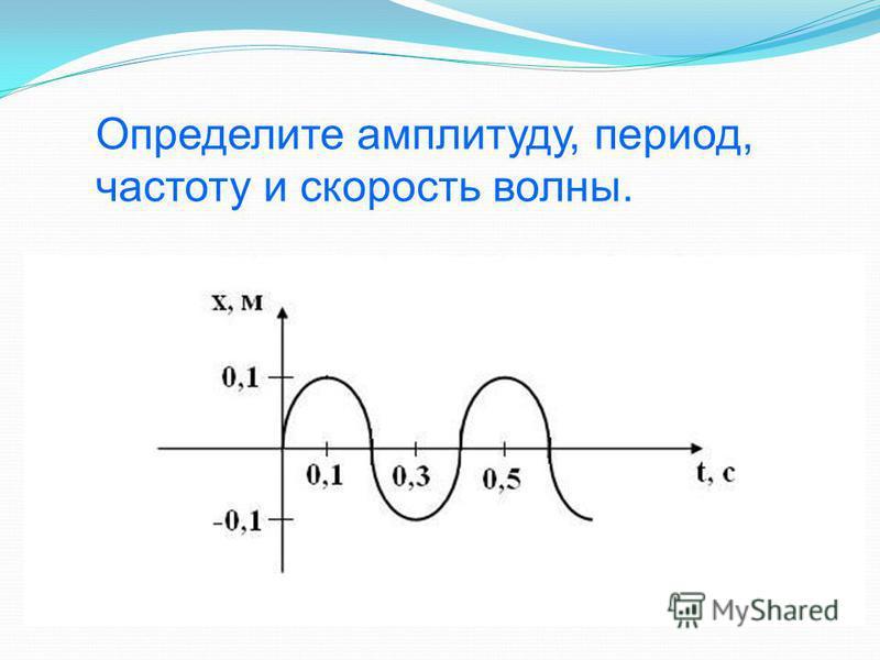 Определите амплитуду, период, частоту и скорость волны.