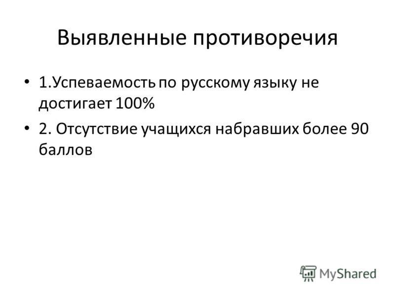Выявленные противоречия 1. Успеваемость по русскому языку не достигает 100% 2. Отсутствие учащихся набравших более 90 баллов