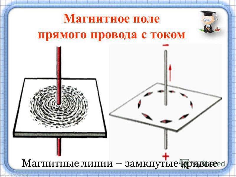 Магнитное поле прямого провода с током Магнитные линии – замкнутые кривые