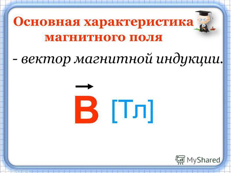 Основная характеристика магнитного поля - вектор магнитной индукции. В [Тл]
