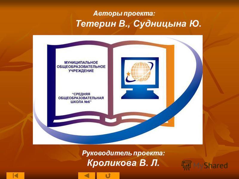 Руководитель проекта: Кроликова В. Л. Авторы проекта: Тетерин В., Судницына Ю.