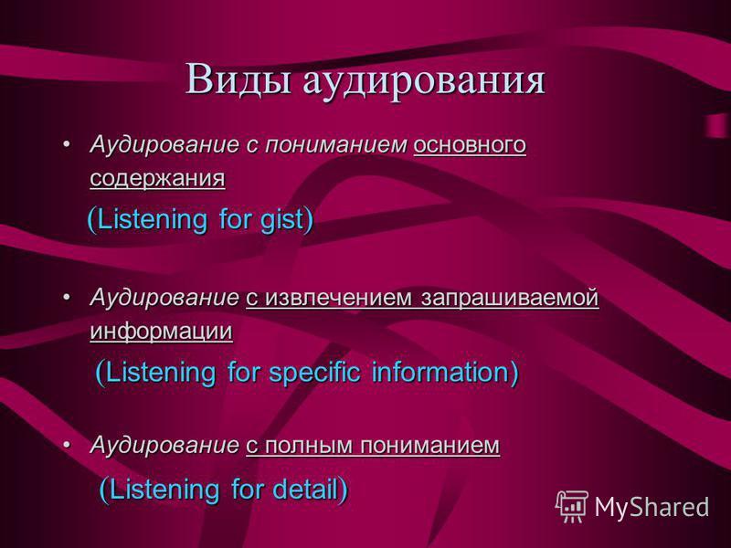 Виды аудирования Аудирование с пониманием основного содержания Аудирование с пониманием основного содержания ( Listening for gist ) Аудирование с извлечением запрашиваемой информации Аудирование с извлечением запрашиваемой информации ( Listening for