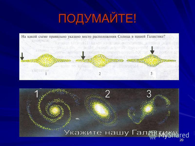 19 Какие утверждения верны? 1. Млечный Путь – это особое сияние в воздухе нашей планеты 2. Млечный Путь состоит из множества звёзд 3. Галактика – это огромное скопление звёзд, звёздная система 4. Солнце находится в центре Галактики 5. Наша галактика