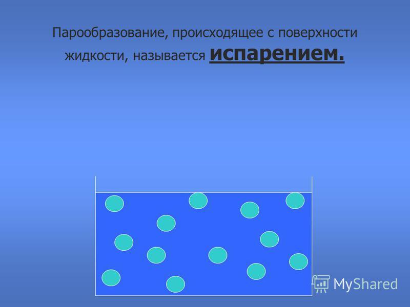 Парообразование, происходящее с поверхности жидкости, называется испарением.