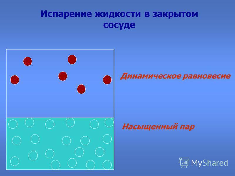 Испарение жидкости в закрытом сосуде Динамическое равновесие Насыщенный пар