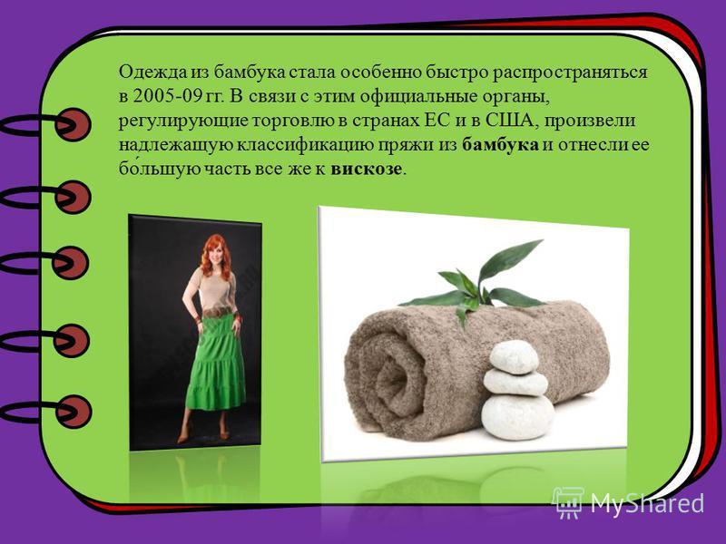 Одежда из бамбука стала особенно быстро распространяться в 2005-09 гг. В связи с этим официальные органы, регулирующие торговлю в странах ЕС и в США, произвели надлежащую классификацию пряжи из бамбука и отнесли ее бой́большую часть все же к вискозе.