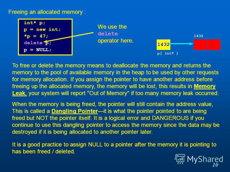 10 int* p; p = new int; *p = 47; delete p; p = NULL; Freeing an allocated memory : To free or delete the memory means to deallocate the memory and returns the memory to the pool of available memory in the heap to be used by other requests for memory