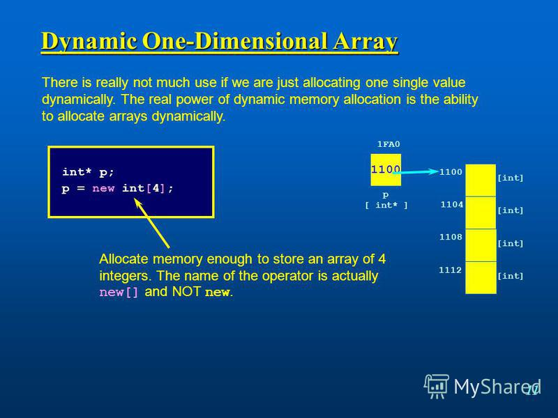 11 Dynamic One-Dimensional Array There is really not much use if we are just allocating one single value dynamically. The real power of dynamic memory allocation is the ability to allocate arrays dynamically. int* p; p = new int[4]; Allocate memory e